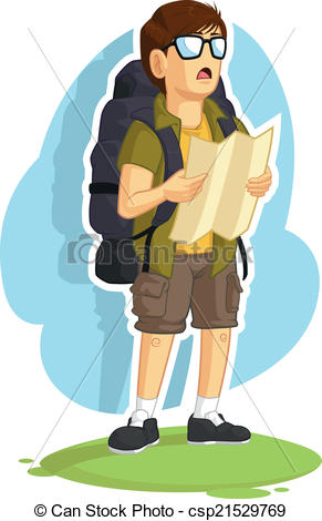 Clip Art Vector of Backpacker Boy Reading Road Map.