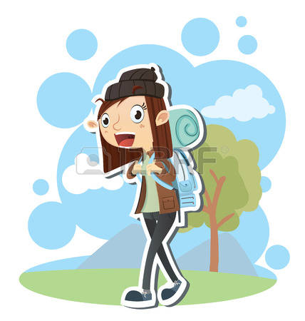696 Female Backpacker Stock Vector Illustration And Royalty Free.