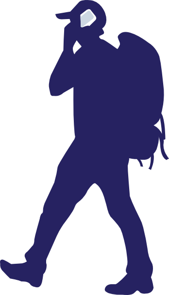 Backpacker On A Phone clip art Free Vector / 4Vector.