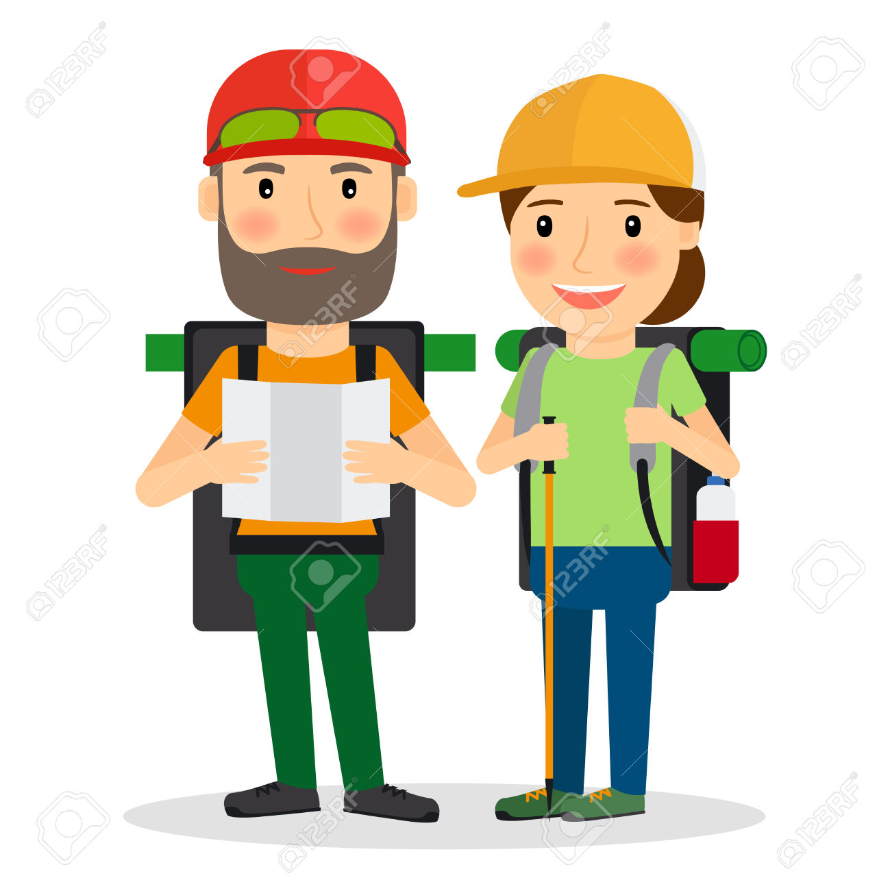 Hiking Couple Vector Illustration. Couple Of Backpackers For.