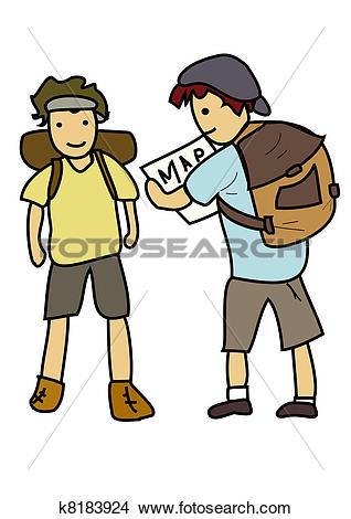 Drawings of Backpackers k8183924.