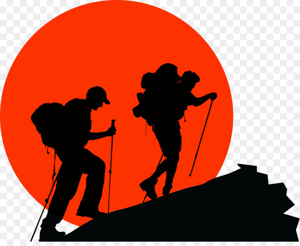 Backpacking Hiking Silhouette Clip art.