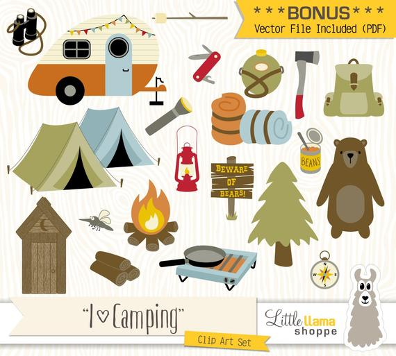Camping Clipart, Vector Backpacking Clip Art, Camp Clipart, Hiking,  Outdoors, Campfire, Summer Camp, PDF, PNG, Commercial Use.