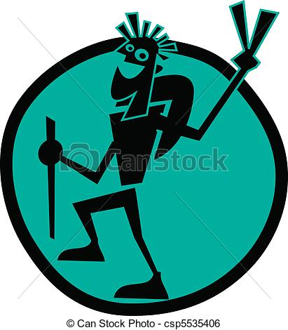 Guy backpacking or hiking clip art.