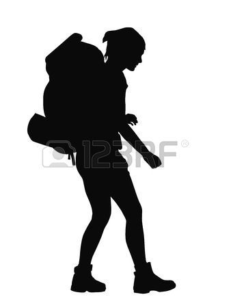 backpacker: Girl with backpack vector silhouette. EPS 8.