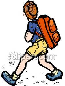 Person Hiking with a Pack on Royalty Free Clipart Picture.