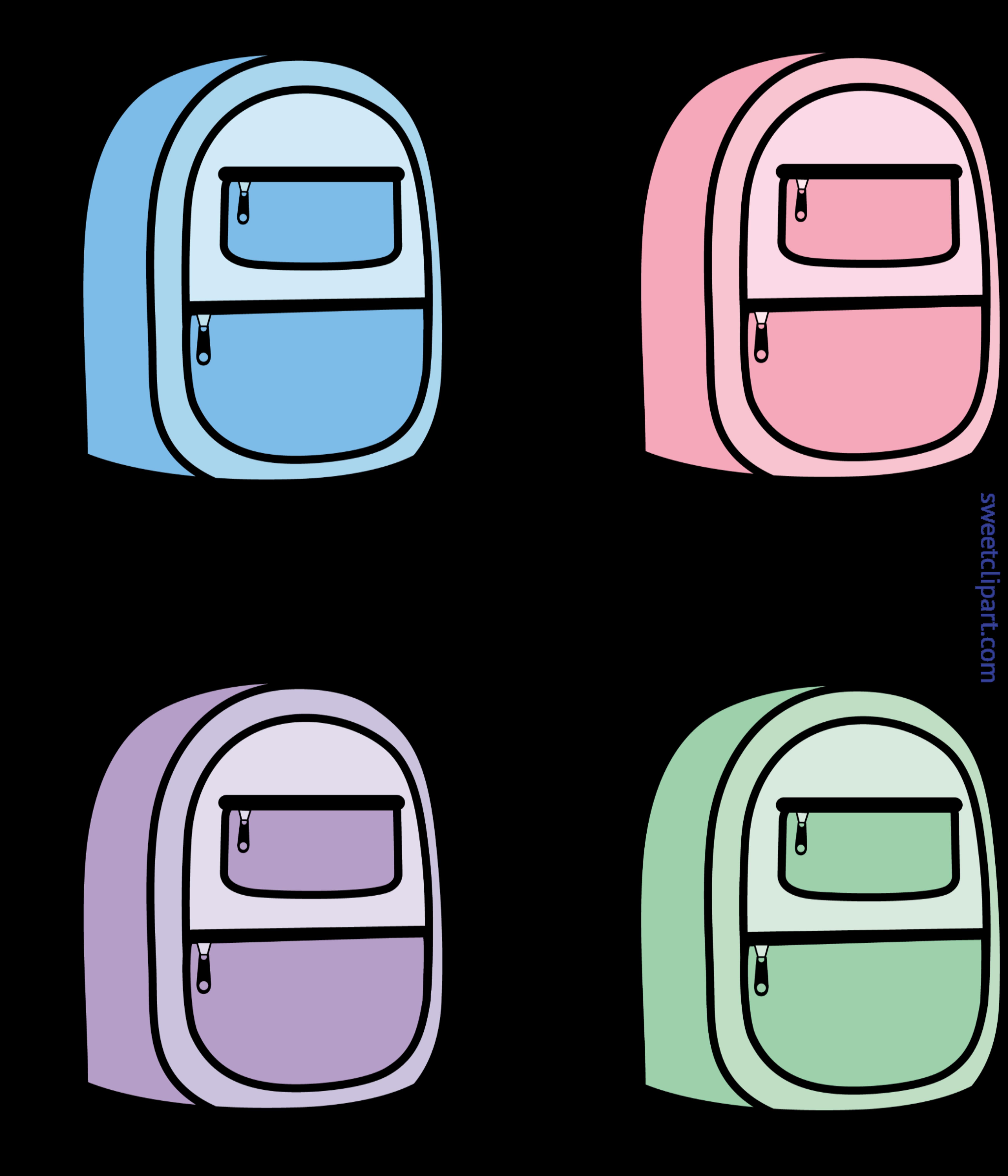 School Backpacks Set Clip Art.