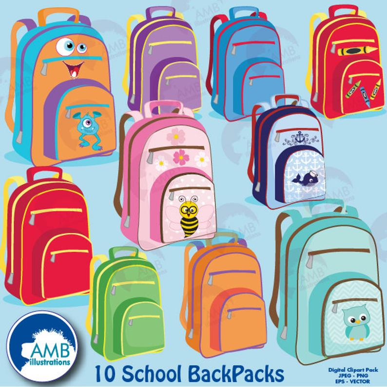 Backpack clipart, Back to school, Classroom clipart, school supplies  clipart, commercial use, AMB.