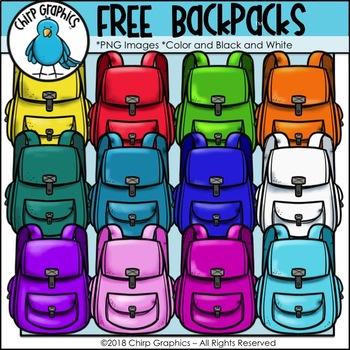 FREE Backpack Multicolor Clip Art Set.