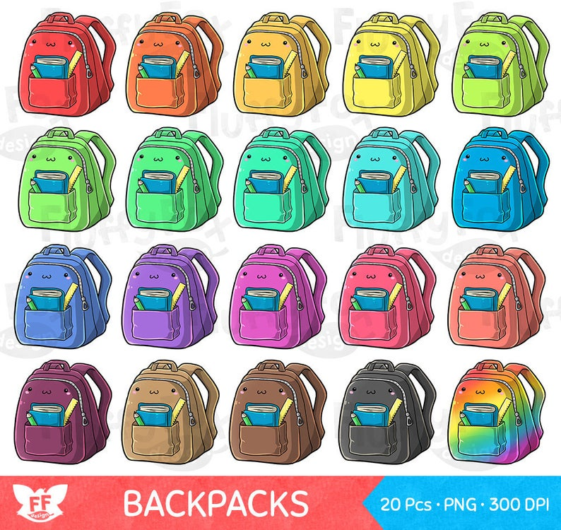 Kawaii Backpack Clipart, Cute Bag Clip Art, Education Back to School  Supplies Kids Stationery Rainbow Colorful PNG Graphic Digital Download.