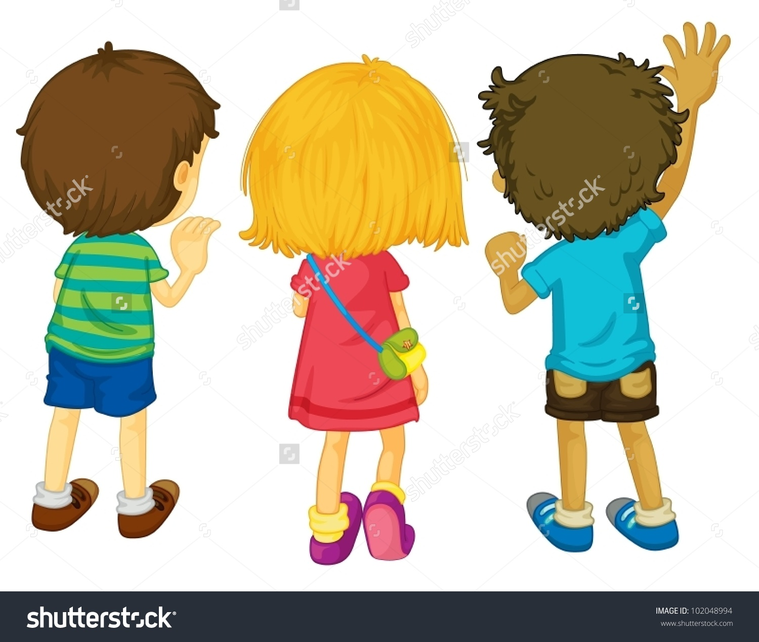 3 Kids Standing Back View Clipart.