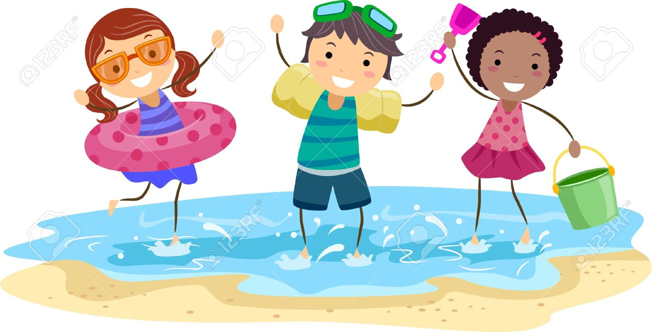 Kids Playing On The Beach Clipart.