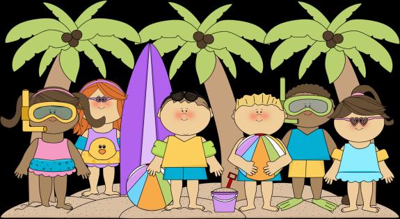 Kids at the Beach Clip Art.