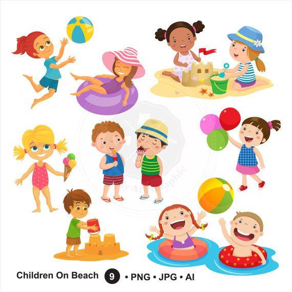 Children On Beach Clipart,summer kids,children clipart.