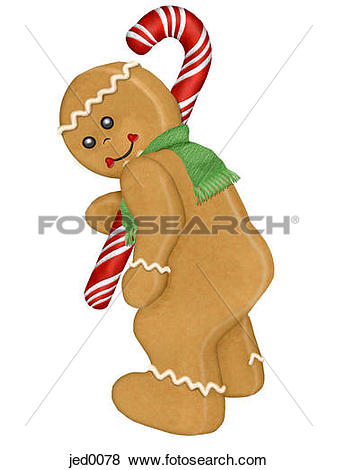 Stock Illustration of A gingerbread man's backside jed0078.