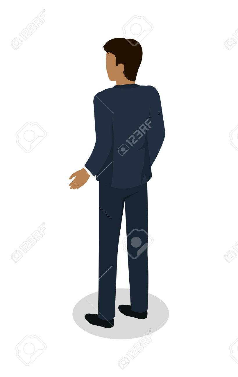 Male in Business Suit Standing Back Flat Design.