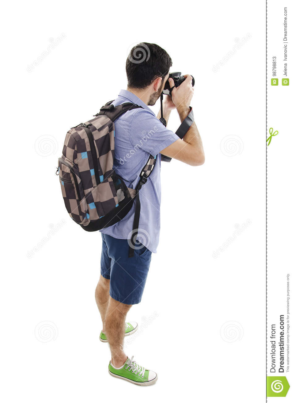 Back View Of Tourist Photographer Man Taking Picture Stock.