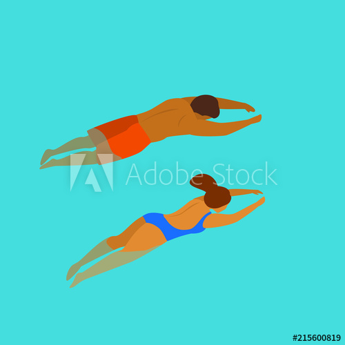 man and woman swimming diving in a pool backside from above.