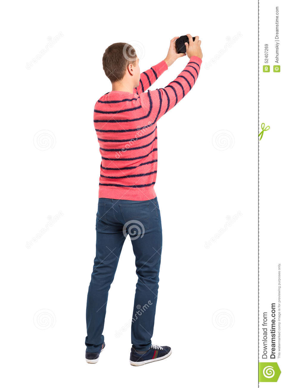 Back View Of Man Photographing Stock Image.