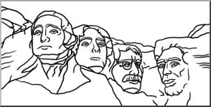 Clip Art: Mt. Rushmore B&W I abcteach.com.