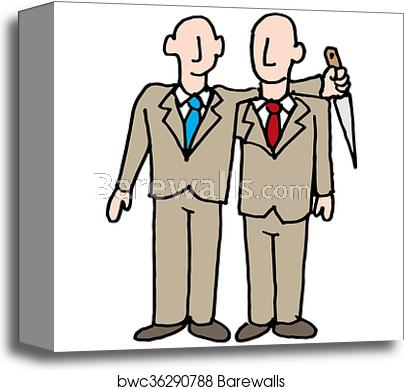 Backstabbing businessman canvas print.