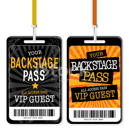 Set of Backstage Pass Template Designs Stock Vector.