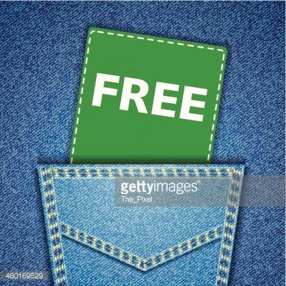 Free tag. Blue back jeans pocket realistic denim texture.