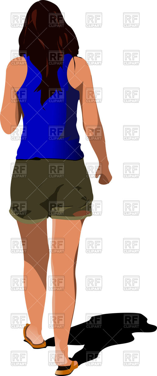Back of woman clipart.