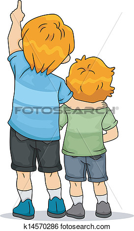 Boy back view clipart.