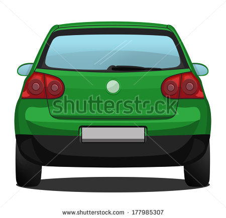 Vector Car Back View Behind Silver Stock Vector 207571483.
