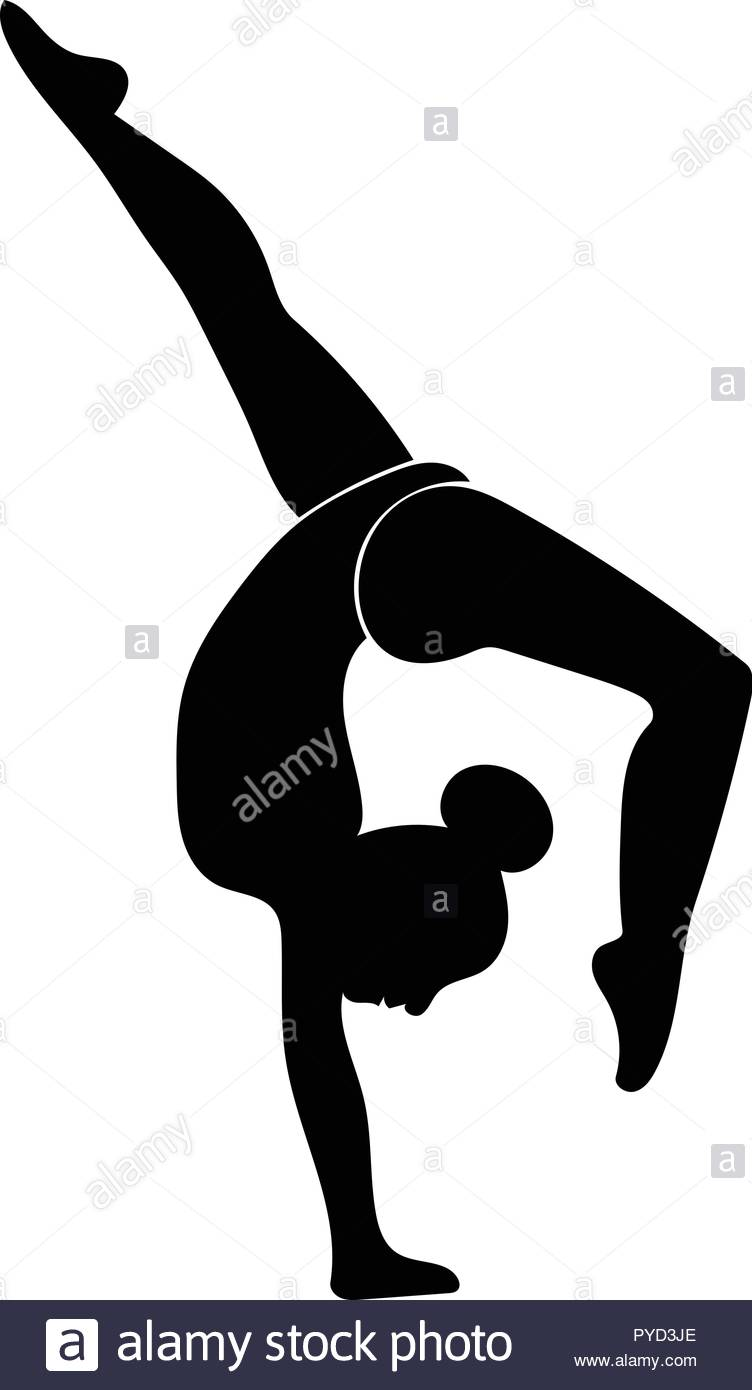 Vector art silhouette of gymnast performing back walkover in.