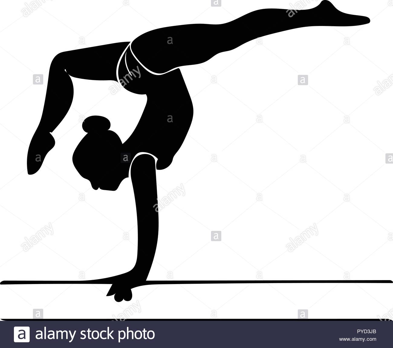 Silhouette vector graphic of gymnast on beam performing a.