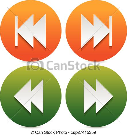 Clipart Vector of Set of buttons, icons with next, previous and.