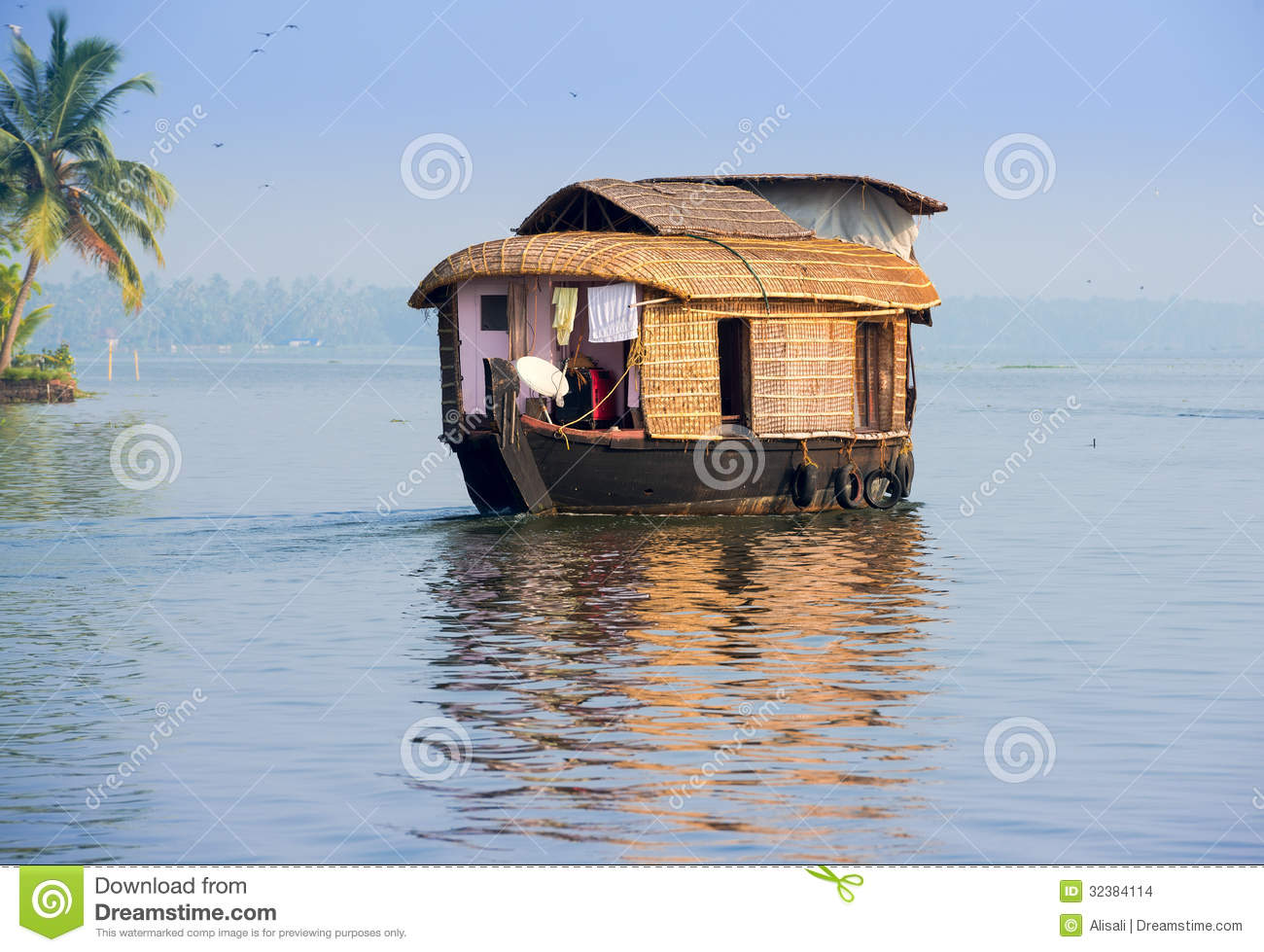 Landscape With Houseboat In Kerala Backwaters Stock Images.