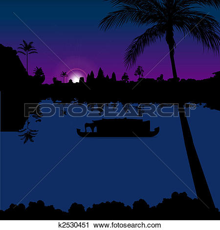Clipart of silhouette view of boathouse in backwaters, kerala.