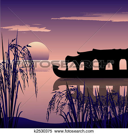 Clipart of view of boat parked at backwaters, kerala k2530551.