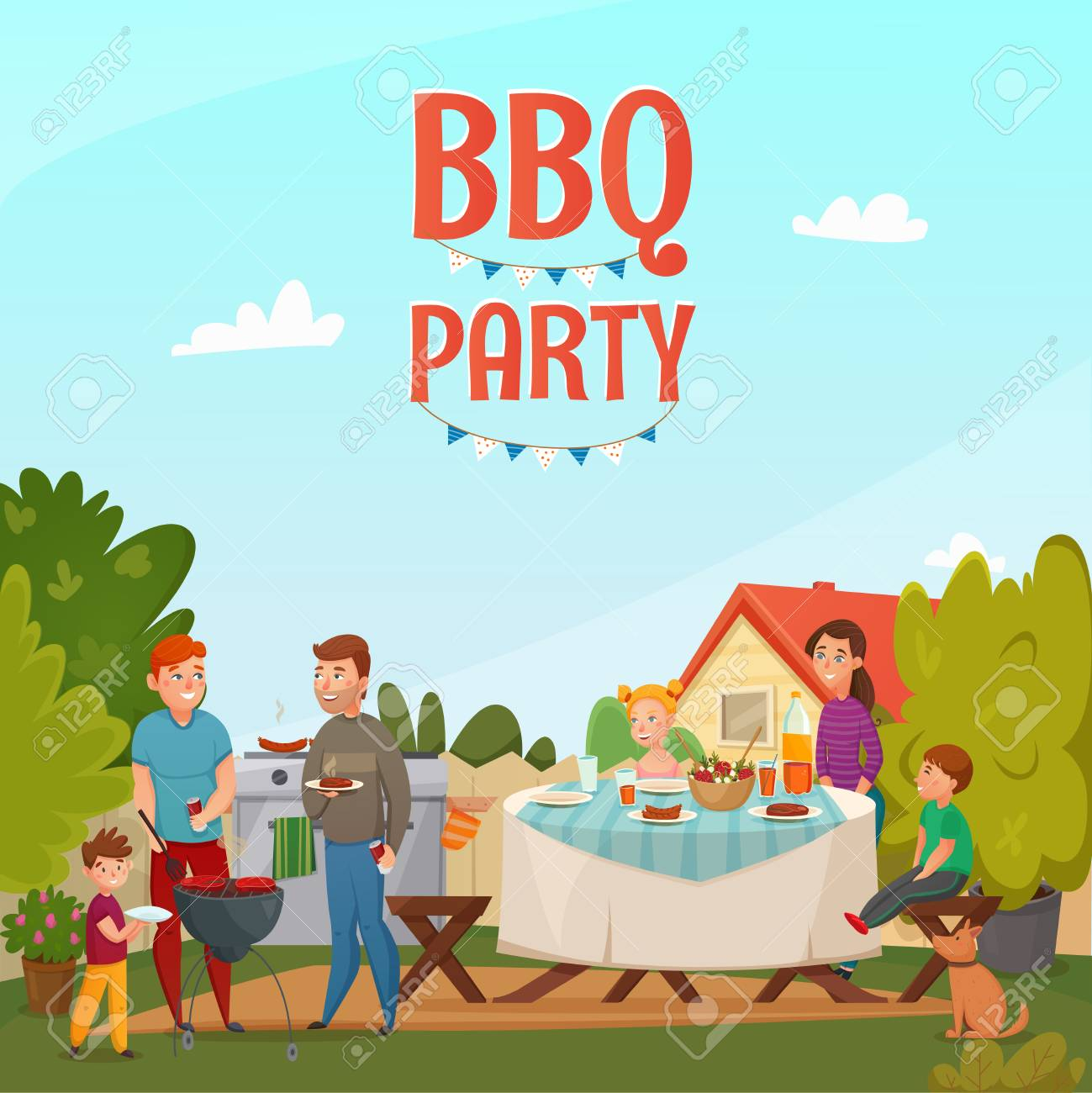 Colored cartoon barbecue party poster with family in backyard...