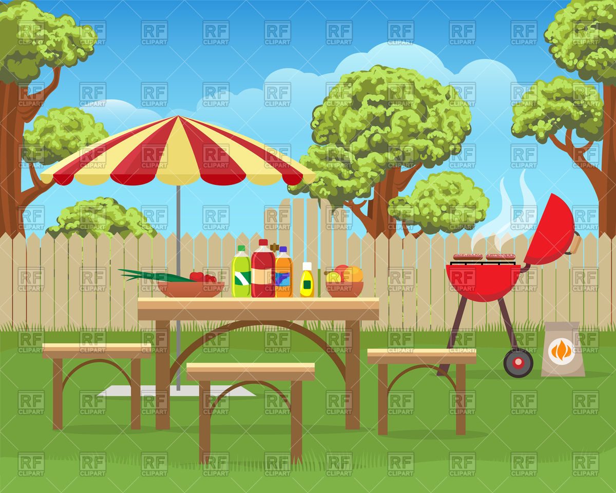 Summer backyard fun bbq or grilling barbecue Stock Vector Image.