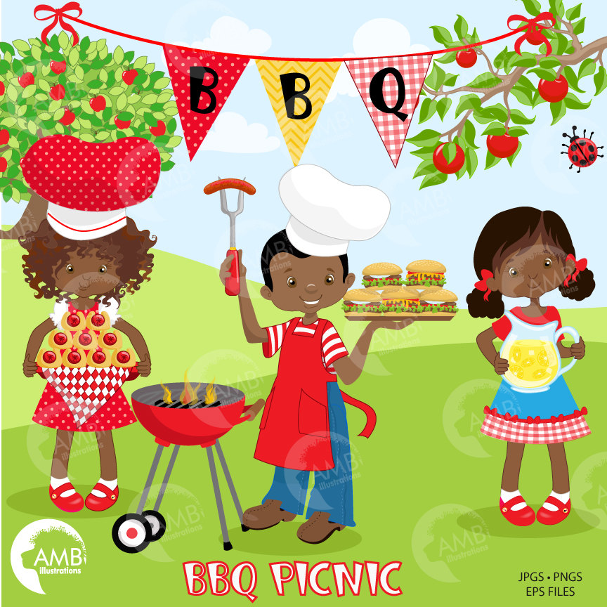 BBQ clipart, Picnic clipart, Backyard Barbecue Bbq party clipart, African  American, AMB.