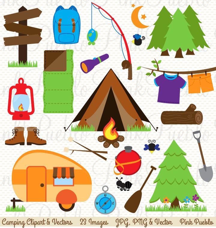 Camping Clip Art, Camping Clipart, Camping Invitation or.