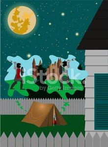 Backyard Camping Clipart Image.