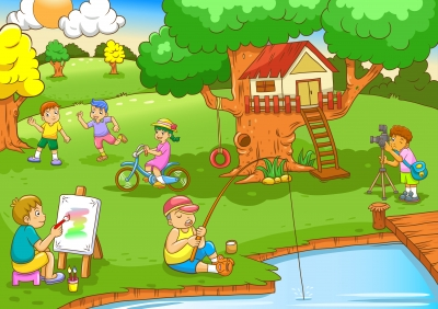 Kids Backyard Clipart.