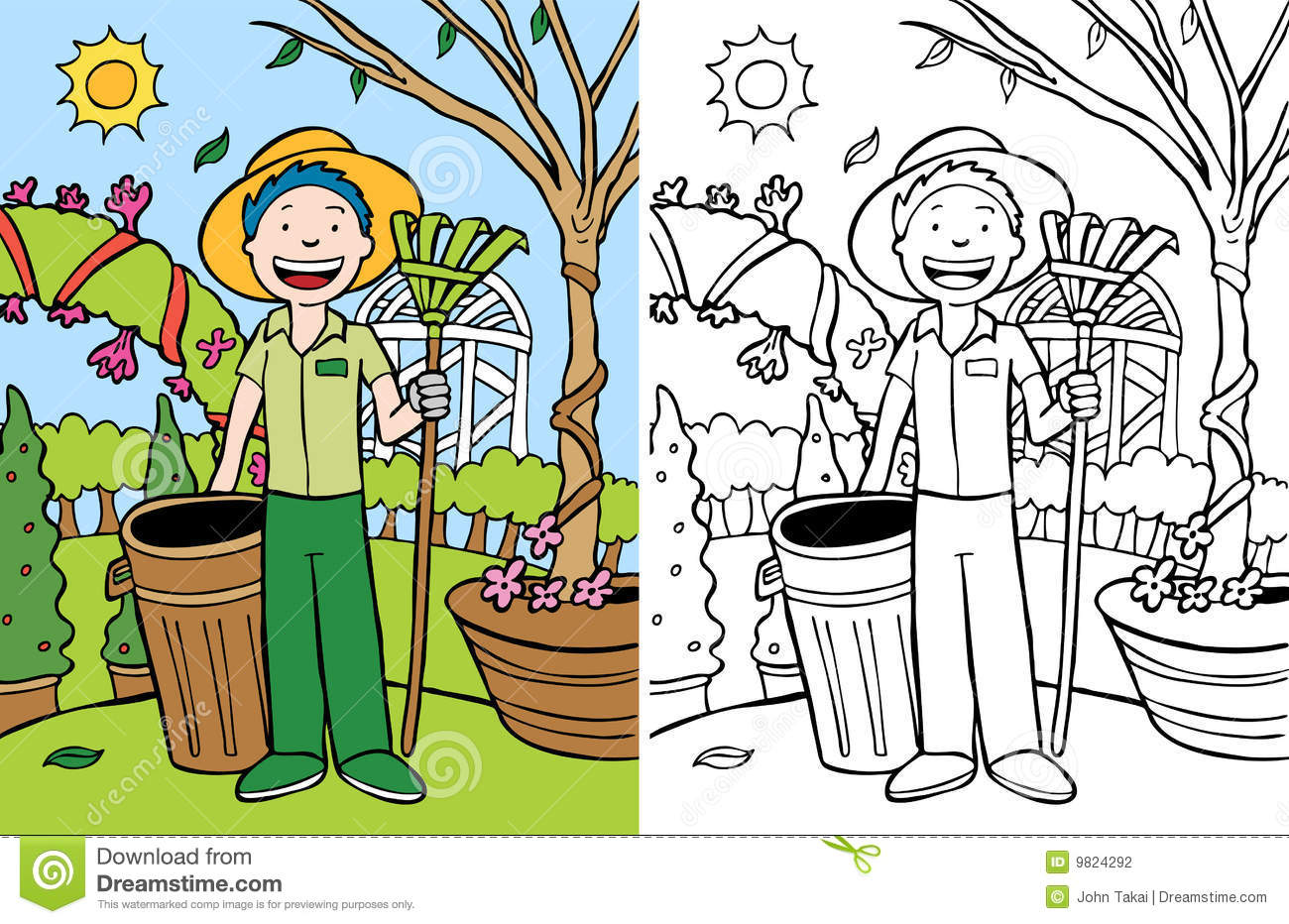 Cleaning The Yard Clipart.