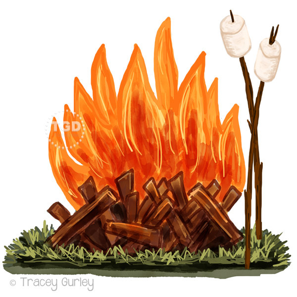 Camping fire pit clipart.