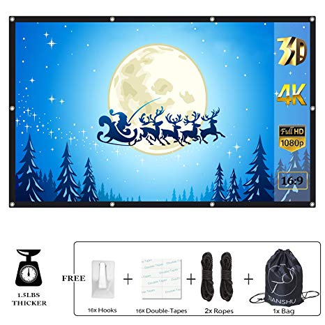 TIANSHU 84 inch Projector Screen With Bag, Foldable Anti.