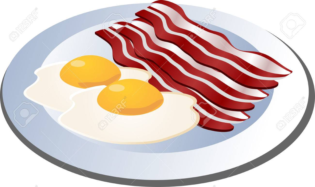 Bacon and eggs breakfast.