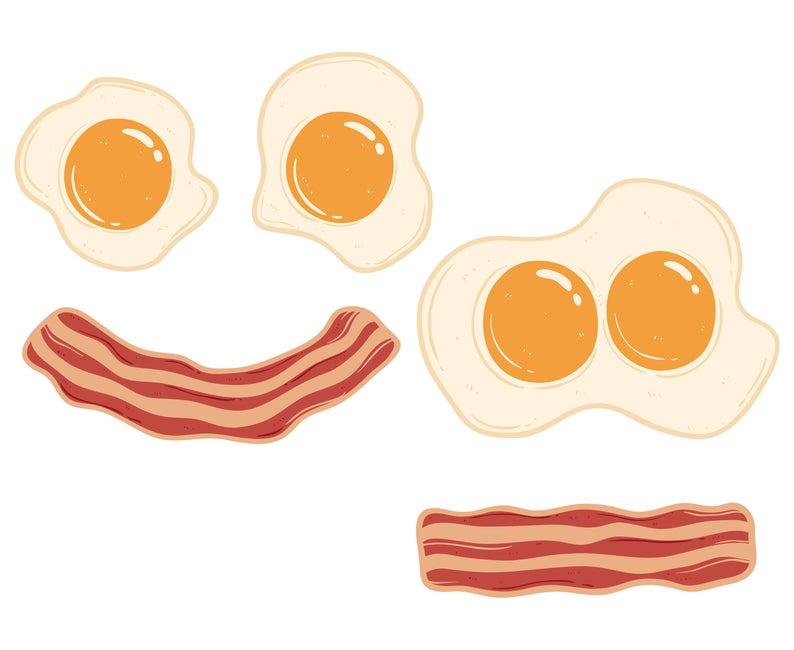 Bacon, Eggs, Fried,  Silhouette,SVG,Graphics,Illustration,Vector,Logo,Digital,Clipart,Design.