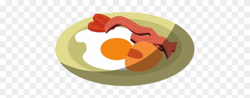 Breakfast Food Design Bacon And Eggs Vector.