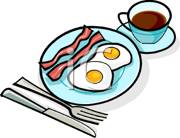 Bacon, Eggs and Coffee Clipart Image.