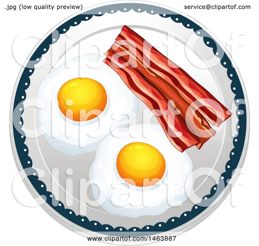 Clipart Graphic of a Plate of Eggs and Bacon.